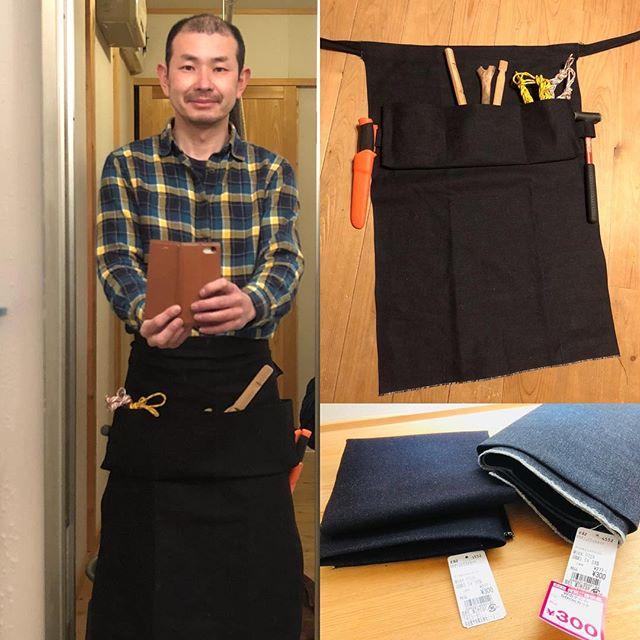 とーさんはー、夜なべーをして、ブッシュクラフトエプロン作ってみたよー♪#松本スタイル
