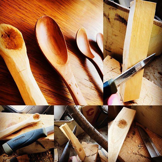 ブッシュクラフトインストラクター仲間に白樺の木はカトラリー系がオススメと聞いて、スプーンを作ってみた。ナイフ一本で頑張って彫ったけど、市販のスプーンって意外に彫りが浅いのね。