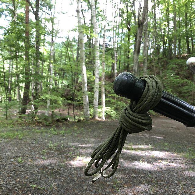 キャンプ場行くと大体何か拾う。5m弱のパラシュートコード。