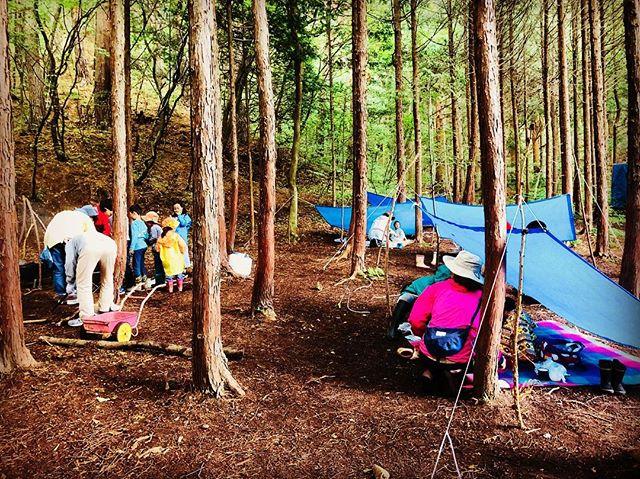 森の中に難民キャンプ出現!#塩尻こども劇場 #シェルター #信州 #ブッシュクラフト #スクール