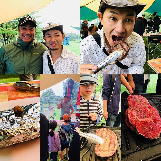 アウトドア快適生活研究家 田中ケンさんのオージービーフBBQ講座!あづみの公園穂高地区で開催のOutdoor Park で分厚い肉を鉄板で美味しく焼くコツを教えてもらいました。明日も開催していますので、興味のある方は是非。雨ですが、その分人が少なく独占状態ですよ。イベント詳細はこちらhttp://www.azumino-koen.jp/horigane_hotaka/new/topics.php?preview=1&id=1696