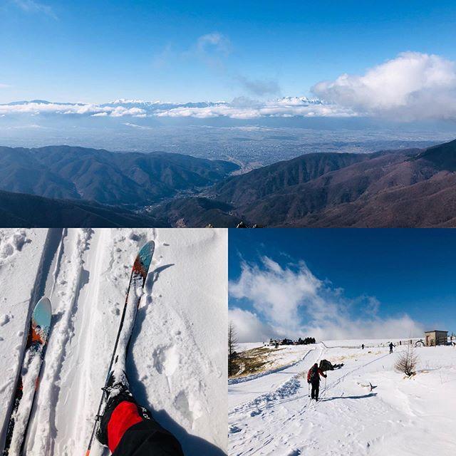 今日ははじめての #ネイチャースキー風もなく雪もなく(´Д` ) 気持ちの良い  #美ヶ原景色すごいねー。