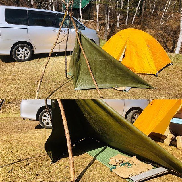 10連休最終日は、馴染みのキャンプ場で #キャンプ 。家族は奥のテントで、私は手前のフルクローズ #シェルター で宿泊。#ブッシュクラフト