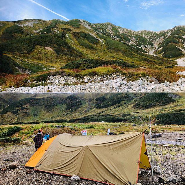 山でもタープをプラスすると快適性が上がりますね。子連れ雨山キャンプを乗り切りました。#タープ #キャンプ #登山 #立山 #雷鳥沢キャンプ場