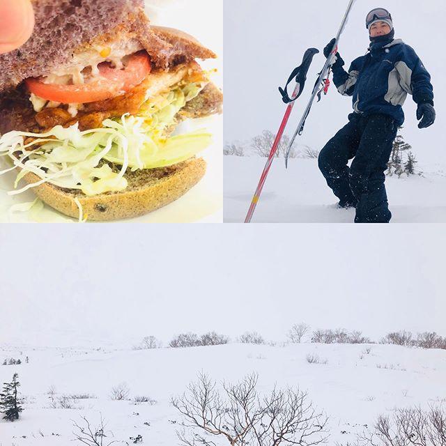 しんしんと雪が降って参りました。#山賊バーガー #バックカントリー #テレマークスキー #無事下山